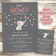 Elephant Baby Shower Invitation Mommy to by JustRightDesigns954