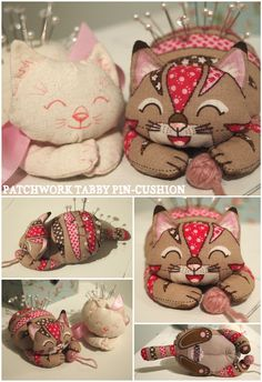 Patchwork Tabby Pin-Cushion. Kit by Wood Mouse & Bobbit