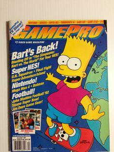 Gamepro December 1991 Gaming Magazines, Video Game Magazines, Turbografx 16, 90s Stuff, My Magazine, Retro Video Games, Mega Man, Game 1, Bart Simpson