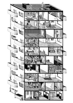 Arnar Ásgeirsson's Living Sections The building itself is used as a narrative device, in order to keep together several micro-stories ranging from the surreal to the mundane. Architecture Graphics, Architecture Drawings, Interior Architecture, Architecture Diagrams, Icelandic Artists, Axonometric Drawing, Planer Layout, Section Drawing, Building Drawing