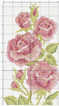 Punto croce - Schemi Gratis e Tutorial: Schema punto croce- ricamo rose per ogni applicazione
