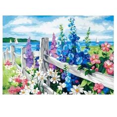 Frameless The Flowers Sea DIY Painting By Numbers Kits paintings for living room wall Coloring Painting By Numbers 40x50