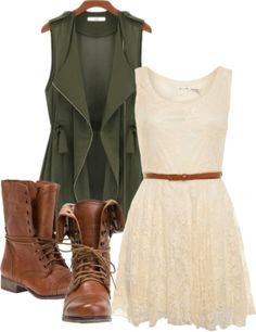 Cream lace dress and long green vest.