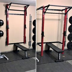 That moment you wish you had more space for bench work. Easy, just move the squat rack out of the way.