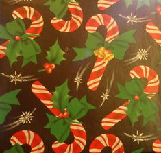 Vintage 1950's Christmas Wrapping Paper, Candy Canes and Holly, NOS   eBay