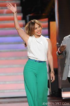 Thursday I wore a Balenciaga top with Milly pants, Giuseppe Zanotti shoes, a Sydney Evan pyramid bracelet, Pomellato chain bracelet and Jaqueline Nerguizian colored rings. - Jennifer Lopez