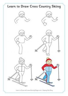 Learn to Draw Cross Country Skiing: Winter Olympics Crafts for Kids. #StayCurious