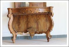 Console con specchio Napoli intagliata, noce massello 1850 Luigi Filippo consolle toilette toletta