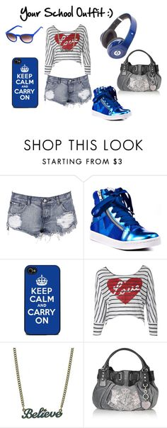 """""""Your School Outfit :)"""" by mindless-chick-1-4-3 ❤ liked on Polyvore featuring One Teaspoon, Blink, Disney Couture, Ray-Ban, Juicy Couture, Monster, women's clothing, women, female and woman"""