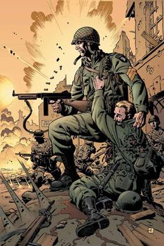 Sgt. Rock Comic Book Artists, Comic Artist, Comic Books Art, Arte Zombie, Dave Gibbons, Arte Nerd, Military Drawings, Comic Art Community, War Comics