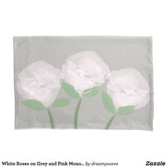 White Roses on Grey and Pink Monogram Pillow Case