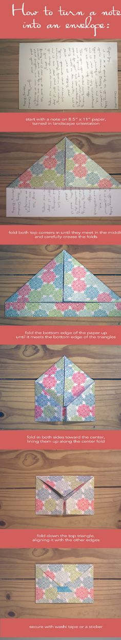 AHG Pen Pal Ideas: Fold a note into an envelope!