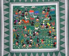 Hmong story cloth - paj ntaub (pronounced pan dau). The story of how Hmong lived in their homeland before becoming refugees
