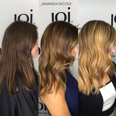 transformation from brunette balayage to blonde balayage