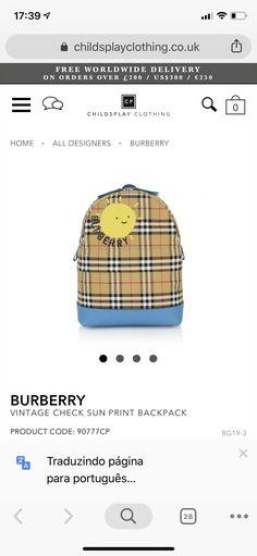 Kids Fashion Boy, Burberry, Coding, Backpacks, Boys, Pattern, Clothes, Vintage, Design