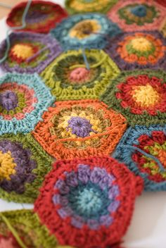hexagon pattern by Attic 24 on Ravelry.  Lots of projects to look at.
