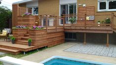 Image result for deck et terrasse Home Porch, Pool Decks, Construction, Sweet Home, Backyard Designs, Outdoor Decor, Sunrooms, Porches, Home Decor
