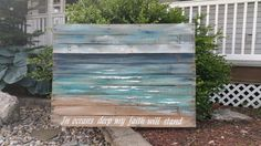 LARGE Reclaimed Wood Pallet Art, BEACH, Hand painted Beach, Seascape horizon, ocean, upcycled, Distressed, Shabby Chic, verse, word art