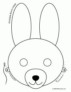 bunny mask coloring page 231x300 Printable Easter Bunny and Baby Chick Masks