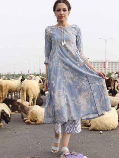 Blue Side Pleat Cotton Kurta