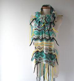 Nuno Felted scarf  Chevron teal blue white  felt scarf  nuno