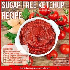 Tomato ketchup--homemade sugar free, easy to make with simple ingredients. if they must have ketchup, this is the one i'd choose. Real Food Recipes, Cooking Recipes, Yummy Food, Healthy Recipes, Diabetic Recipes, Healthy Foods, Diabetic Foods, Kosher Recipes, Healthy Sugar