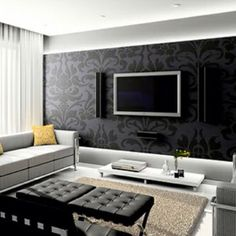 black patterned wall