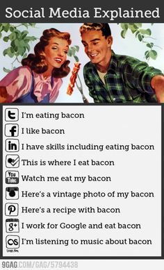 Social Media Explained Simply Using Bacon [infographic]. Bacon makes everything better - even explainations of social media . Social Media Humor, Le Social, Social Media Marketing, Social Networks, Marketing Ideas, Social Media Explained, Haha, Marketing Digital, Internet Marketing