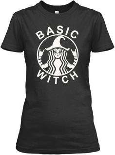 Funny Basic Witch Halloween T Shirt017 Black T-Shirt Front