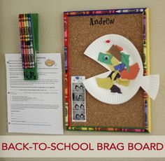 Life Your Way: Back to School Brag Board- use school supplies to craft a school organization area with your child! How else do you organized important paperwork or display your child's artwork from school?