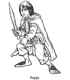 the hobbit pippin peregrin took one of the companions of frodo in his quest to destroy the one ring coloring page