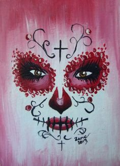 Original ACEO Oil Painting Day of The Dead Face Sugar Skull Make Up Red | eBay