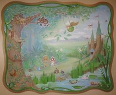 so many sweet elements: spider web, faerie houses in the tree trunk, toadstool houses, birds nest