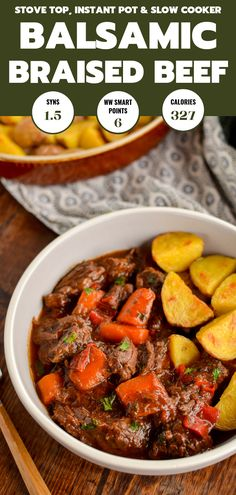 This delicious bowl of Balsamic Braised Beef is pure comfort food. Tender chunks of beef in a tangy rich tomato sauce. Slimming World Beef, Slimming Eats, Slimming World Recipes, Slimming Word, Healthy Eating Recipes, Meat Recipes, Dinner Recipes, Cooking Recipes, Recipies