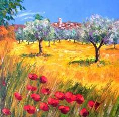 The olive grove - Jean-Marc JANIACZYK, paints with a knife Source by varlagina Watercolor Landscape, Landscape Art, Landscape Paintings, Colorful Paintings, Beautiful Paintings, Garden Painting, Oil Painting Reproductions, Pictures To Paint, Acrylic Art