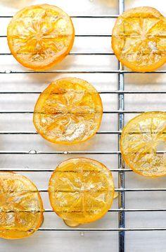 Candied Meyer Lemon Recipe... great as a garnish, too! shewearsmanyhats.com