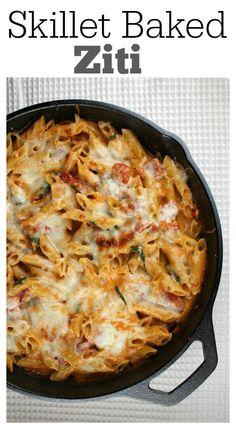 Skillet Baked Ziti : a family-favorite easy dinner recipe.