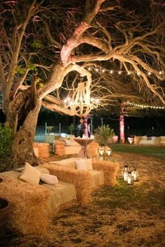 Set Up Mood Lighting And Hay Stack Seating!