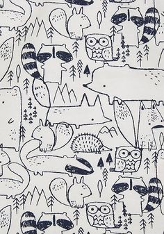 The conversational print trend intrigues me - I know there's a way to be fun and still somewhat mature (or honestly, immature, who cares) Kids Patterns, Textures Patterns, Print Patterns, Woodland Illustration, Pattern Illustration, Kids Graphics, Conversational Prints, Baby Wall Art, Kids Prints