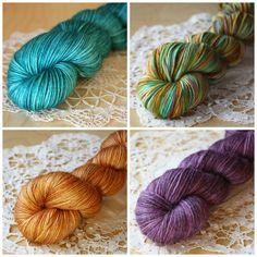Mini Skeins / 400 Yards / Hand Dyed Autumn Verdigris Mini Skeins Caresse Fingering Weight