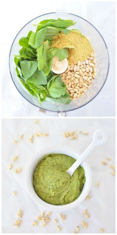 Dairy Free Pesto.  A healthy pesto that is oil free!  Use it as a spread, sauce or dip!  Vegan and gluten free. http://mywholefoodlife.com/2015/01/08/dairy-free-pesto/