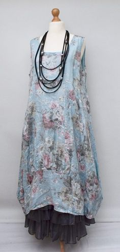 "Floral Linen Long Dress With 2 Pockets. Bust Up To: 54"". however, will be very close to real colour. Lagenlook Layering. Soft, Quality, Wear At All Season. Hips Up To: 60"". the picture may not reflect the actual colour of the item. 
