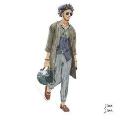 Street snap illustration  Photo by @tommyton  #tommyton #streetsnap #men #mensfashion #monochromatic #ss16 #sunglasses #jacket #rayban #olive #green #newyork #jianjianlai #taiwan #illustration #art #instagood