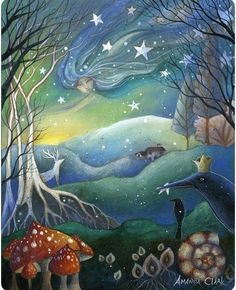 Mounted print titled 'Yule' by Amanda Clark - wheel of the year, winter art, crow art, fairytale art, mounted art print Art And Illustration, Yule, Clark Art, Photo D Art, Fairytale Art, Canvas Prints, Art Prints, Painting Canvas, Winter Art
