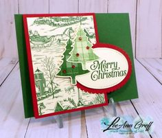 Perfectly Plaid easy fun fold card featuring the Toile Tidings designer series paper.  Measurements & details at Flowerbug.net #ToileTidings, #PerfectlyPlaid, #PineTreePunch, #FunFold, #Christmascard, #2019HolidayCatalog, #card,