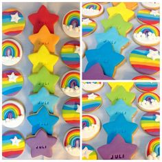 Galletitas arcoiris Unicorn Birthday, Unicorn Party, 4th Birthday, Birthday Parties, Cumple My Little Pony, My Little Pony Party, Rainbow Parties, Rainbow Theme, Noahs Ark Party
