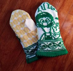 The Year of Luigi Mittens pattern by Jolean Laming Mittens Pattern, Knit Mittens, Knitted Gloves, Fair Isle Knitting, Baby Knitting, Knitting Patterns, Crochet Patterns, Knitting Ideas, Nerd Crafts