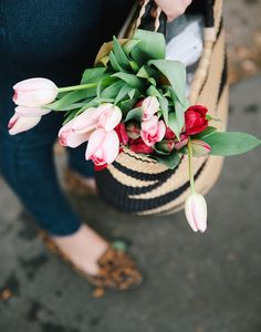 a market basket full of flowers {basket from The Little Market}