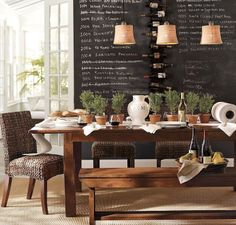 dining room table and decor, rustic/school room