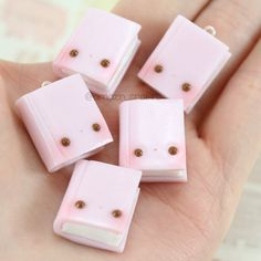 Pink Book - Polymer Clay Charms, Polymer Clay Jewelry, Kawaii by AmazinCraftss on Etsy https://www.etsy.com/listing/241019032/pink-book-polymer-clay-charms-polymer